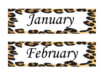 Leopard/ Cheetah/ Animal Print- Months of the Year