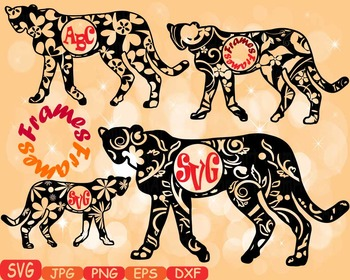 Leopard Circle Frames Jungle Animal Safari Flower SVG school Clipart zoo -374s