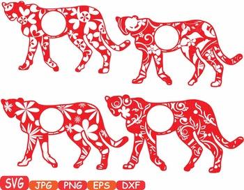 Leopard Circle Frames Jungle Animal Safari Flower SVG school Clipart zoo -374s