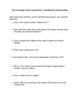 Leopard Man Reading Questions Handout