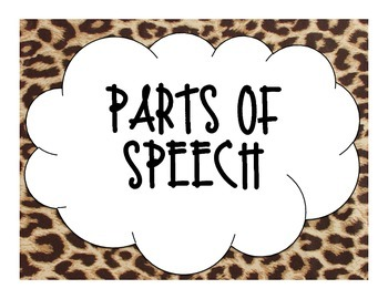 Leopard Parts of Speech Posters