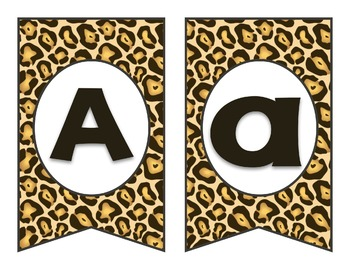 Leopard Pennant Bunting Banner, all letters & numbers