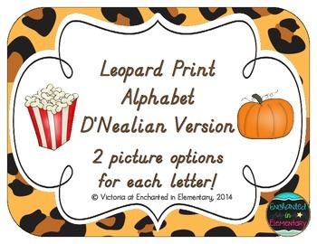 Leopard Print Alphabet Cards: D'Nealian Version