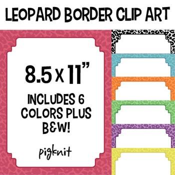 Leopard Print Border Clip Art | Animal Print Frame in 7 Co