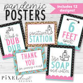 Leopard Print COVID Poster Set   Health Posters   Sanitize