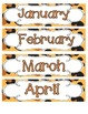 Leopard Print Calendar Numbers, Months and Days
