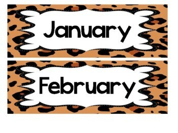 Leopard Print Calendar Set (numbers, days, months, years)