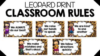 Leopard Print Classroom Rules