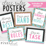 Leopard Print Classroom Rules Posters, Class Expectations