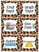 Leopard Print Classroom Supply Labels