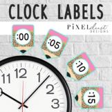 Leopard Print Clock Labels, Telling Time Activity, Clock N