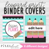 Leopard Print Editable Binder Covers, Lesson Plan Book, Teacher Planner