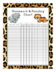 Homework and Reading Teacher Tracking Chart & Award Certificates Leopard Print