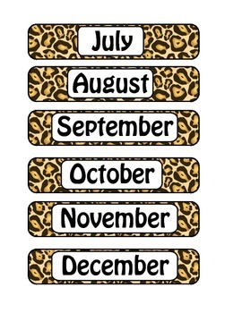 Leopard Print Months of the Year