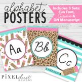 Leopard Print Pencil Alaphabet Posters, Cursive and D'Nealian Manuscript Print