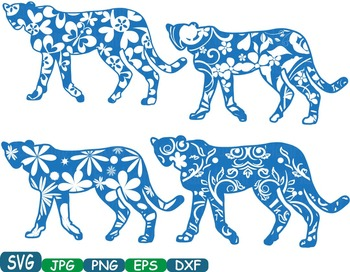 Leopard Safari panther Silhouette school Clipart zoo circus flower floral 365S