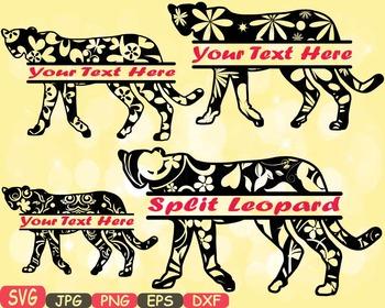 Leopard Split cat kitty Jungle Animal Safari Flower SVG school Clipart zoo -402s