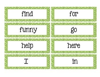 Leopard Theme Dolch Sight Word Wall Cards