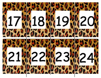 Leopard border numbers 1-100