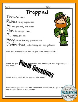"Leprechaun Acrostic Poem ""Trapped"""