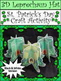 Leprechaun Activities: 3D Leprechaun Hat Craft Activity Packet B/W Version