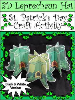 Leprechaun Activities: 3D Leprechaun Hat Craft Activity Packet B/W Version