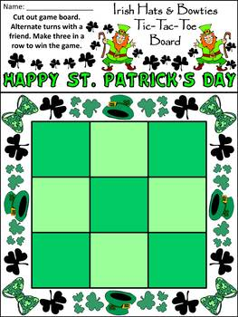 Leprechaun Activities: Irish Leprechaun Hats & Bowties Tic-Tac-Toe Game Activity