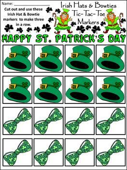Leprechaun Activities: Irish Hats & Bowties Tic-Tac-Toe Game Activity - Color