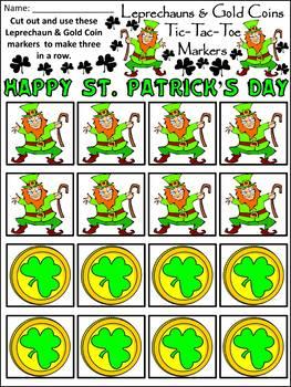 Leprechaun Activities: Leprechauns & Gold Coins Tic-Tac-Toe Game Activity -Color
