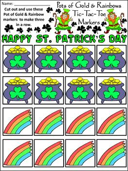 Leprechaun Activities: Pots of Gold & Rainbows Tic-Tac-Toe Game Activity Packet