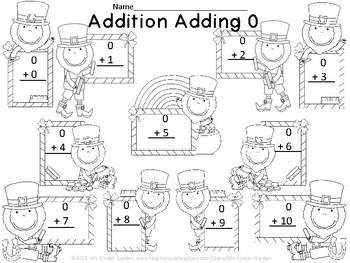 Leprechaun Addition Adding 0-10 Math Worksheets