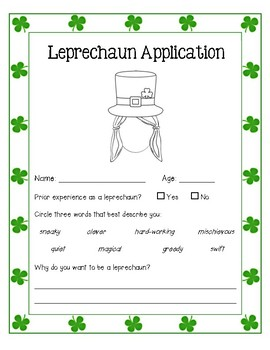 Leprechaun Application Writing - Boy, Girl, and Unisex Included