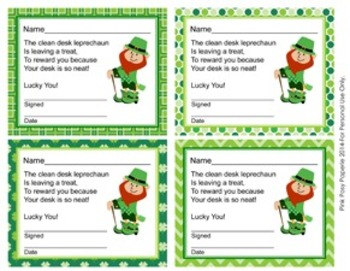 Leprechaun St Patricks Day Clean Desk Awards