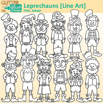 Leprechaun Clip Art {Saint Patrick's Trolls for Worksheets & Handouts} B&W