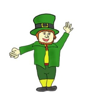 Leprechaun Clip and Color Art for St. Patricks Day