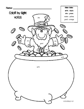 Leprechaun Color by Sight Word Activity Sheet