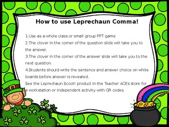 Commas in Conjunctions Powerpoint Game