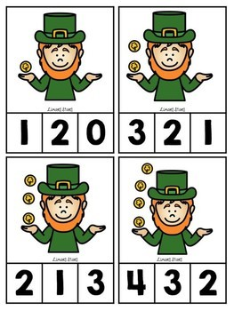 Leprechaun Counting Clip Cards 1-10