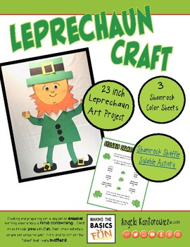 Leprechaun Craft (23 inches)- Bonus Color Sheets & Syllable Shamrock Shuffle