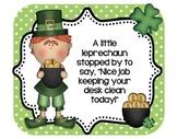 Leprechaun Desk Cards! Freebie! Positive reinforcement for clean desks!