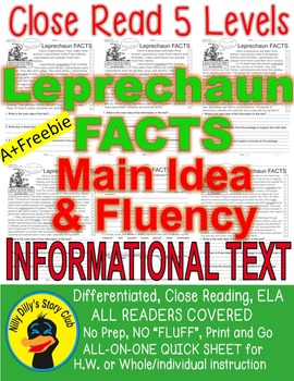 Leprechaun FACTS Close Read 5 Levels Fluency Main Idea TDQs All-On-One Sheet