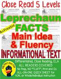 Leprechaun FACTS CLOSE READING 5 LEVELED PASSAGES Main Idea Fluency Check TDQs