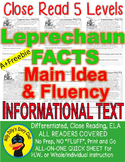 Leprechaun FACTS CLOSE READING 5 LEVELED PASSAGES Main Idea Fluency Check TDQs