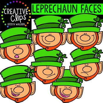 Leprechaun Faces {Creative Clips Digital Clipart}