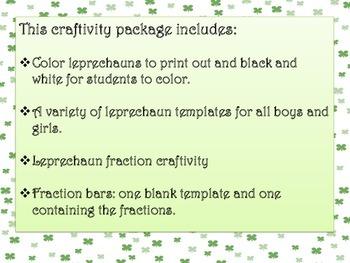 Leprechaun Fraction Bar Craftivity
