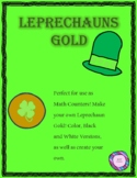 Leprechaun Gold Coins:  Math Counters, Number Order 1-20, Create your own