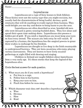 Leprechaun Informational Text Passage
