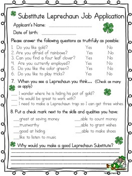 St. Patrick's Day Leprechaun Job Application