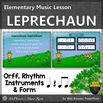 St. Patrick's Day Music: Leprechaun: Orff, Rhythm, Instruments and Form {Eighth}