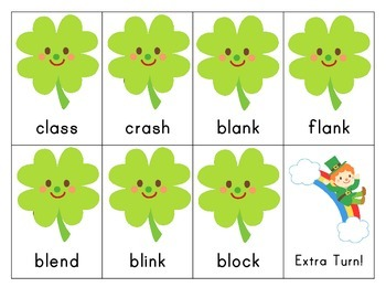 St. Patrick's Day: Reading initial and final blends and digraphs game